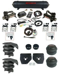 Complete Air Ride Suspension Kit w/480 Black & 27685 Air Lift 3P For 1973-87 C10