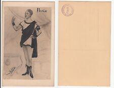 Paris homme au cirque ou Music Hall, CIRCUS BOY, Male RPPC N. Stella dessin c1920