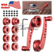 2Pcs RED Car Window Winder Glass Crank Handle Aluminium Knobs Metal Universal