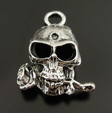 25PCS Vintage Silver Tone Skull with Rose Pendant Jewelry Craft Charm Hot 37670