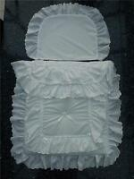 Baby's Pram Quilt set in white  double lace design