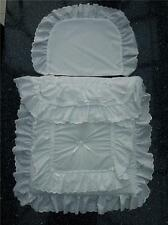 Dolls Pram Quilt set in white  double lace design