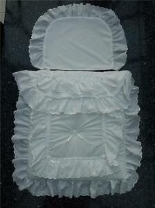 Dolls Pram Quilt SET in white to fit PIONEER RANGER AND SMALLER DOLLS PRAMS