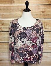 Xhilaration Women's Floral Block Print Long Sleeve Blouse Back Zip XL NEW