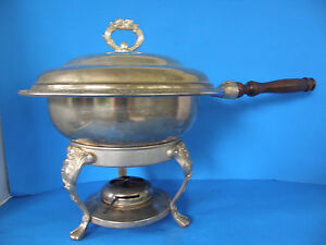 VINTAGE ROUND ORNATE METAL CHAFING DISH & STAND WITH STERNO BURNER FOOD WARMER