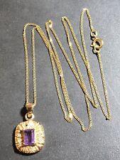 9ct Diamante Colgante de ORO con AMATISTA 9ct Oro Fino Enlace Collar #GT