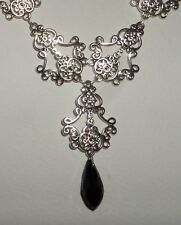FILIGREE VICTORIAN STYLE SILVER PLATE BLACK GLASS BRIOLETTE DROP NECKLACE