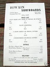 Vintage Surfboards Diwain price list surfboard 1960s