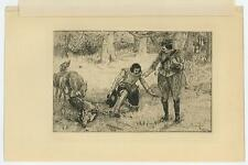 ANTIQUE HOUND DOG DEER BUCK HUNTING HUNT NATURE WOODS ORIGINAL ETCHING PRINT