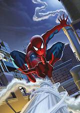 Fototapete SPIDER-MAN ROOFTOP 127x184 Marvel Comic Spiderman über den Dächern