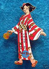 KOBE SEXY JAPANESE GEISHA GIRL RED & WHITE STRIPE KIMONO Hard Rock Cafe PIN LE
