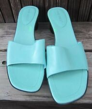 """""""NINE WEST"""" Women's Mules/Slides Turquoise Black Rubber Sole/Platform 10 Med."""