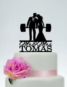 Weight lifting Groom and Bride Custom Wedding Cake Topper With Last Name