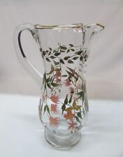Pitcher Tall Crystal Water Juice Cocktail Barware Gold Hand Painted Flowers Rare