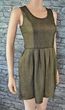 Women's Teen Dark Bronze Brown Sleeveless Stretch Skater Dress Size 10 - 12