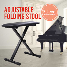 3 Way Portable Piano Stool Adjustable Folding Keyboard Seat Bench Chair Black