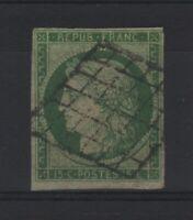 """FRANCE STAMP YVERT  SCOTT # 2 """" CERES 15c GREEN 1850 """" USED VF SIGNED   V152"""