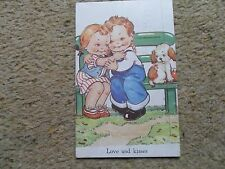 "RAPHAEL TUCK COMIC. POSTCARD. BY DINAH.""LOVE AND KISSES."" POSTED  4.8.1948.."