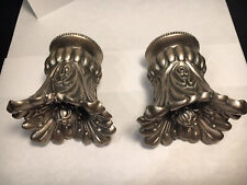 Pair Decorative Drapery Curtain Rod Finials End Caps Silver Vintage