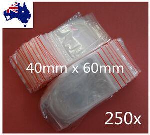 250 Small 40x60mm Resealable Zip Lock Plastic Bags Small Seal ZipLock Bags 4x6cm