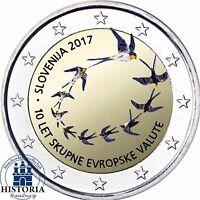 Slowenien 2 Euro 10 Jahre Einführung der Euro Münzen und Banknoten 2017 in Farbe