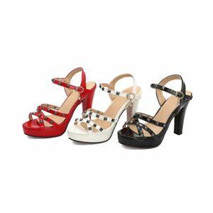 Ladies Ankle Strap Rivet Buckle Platform Block Heels Rome Sandals Patent Leather