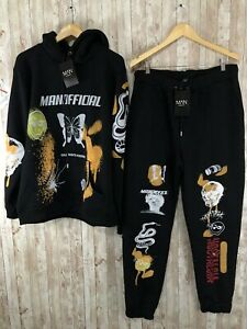 Men's NWT Boohoo Man Skull Butterfly Spray Print Track Suit Sweat Suit XL N109