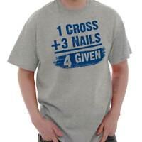 Cross Nail Forgiven Christian Math Religious Short Sleeve T-Shirt Tees Tshirts
