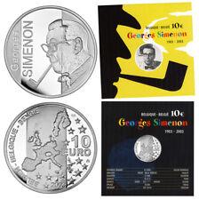 BELGIEN 10 EURO GEORGES SIMENON 2003 POLIERTE PLATTE SILBER IM ORIGINALFOLDER
