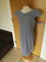 Ladies M&S Dress Size 18 Navy White Stretch Smart Casual Day Party Summer