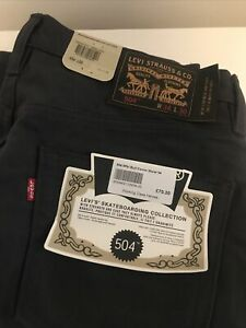 Mens Levi Black/Grey Skateboarding Collection 504 34 waist 30 leg. With Tags.