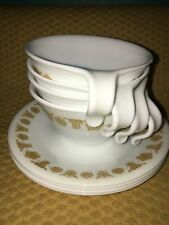 CORELLE Golden Butterfly gold white 5 cups saucers vintage hook handle stacking