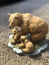 Vintage Masterpiece by Homco Bear With Two Cubs Porcelain Figure hand painted