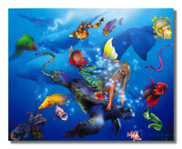 Mermaid and Sea Turtle with Ocean Fish Fantasy Wall Picture 8x10 Art Print