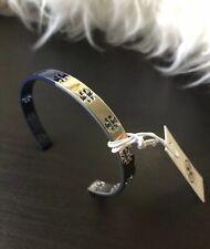 Open Bangle Bracelet In Silver & Navy Nwt Tory Burch Dipped Pierced Logo T Cuff