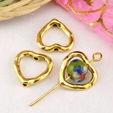 10Pcs Tibetan Silver,Antiqued Gold,Bronze Heart Bead Frame Jewelry DIY M1353