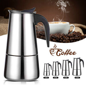 4/6 Cups Edelstahl Espresso Herd Kaffeemaschine Italienische Perkolator-Kanne DE