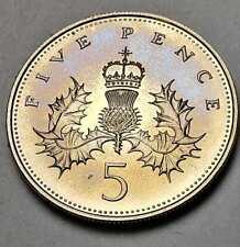 New listing 1984 Great Britain 5 Pence Proof Color Toned Gorgeous Golden Purple Unc (Dr)