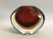 Design Glas Vase Flavio Poli für Seguso Sommerso Glass Red Orange 60s 70s 60er