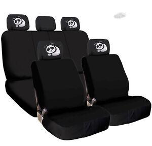 FOR AUDI New Black Flat Cloth Car Truck Seat Covers and Panda Headrest Cove