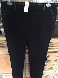 Ann Taylor Size 12 NWT!  Chic Leather Trim Classic Black Pants! MSRP $98