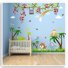 Animal Wall Stickers Monkey Owl Tree Jungle Zoo Nursery Baby Kids Room Decal Art