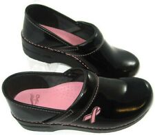 Dansko Clogs Womens Size EU 38 US ~7.5 Black Patent Pink Ribbon Nurse Occupation