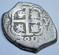 1721 Potosi Spanish Silver 2 Reales Cob Piece of 8 Two Real Colonial Pirate Coin