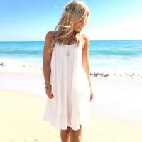 Womens Summer Beach Wear Bikini Cover Up Boho Floral Swing Vest Sun Dress Kaftan