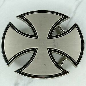 Silver Tone Independent Skate Iron Cross Belt Buckle
