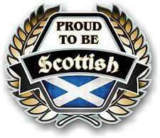 PROUD TO BE Scottish Golden Crest Emblem Scotland Flag Vinyl car helmet sticker