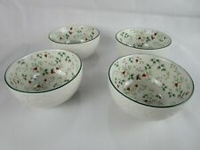 Pfaltzgraff Christmas Winterberry White Embossed Soup Cereal Bowl x4 Bowls