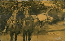 Cowboy Actor Leo Maloney Fighting on Horse Postcard