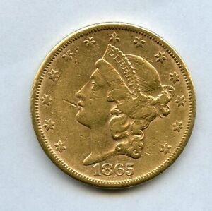 1865-S $20 Liberty Gold Double Eagle Coin